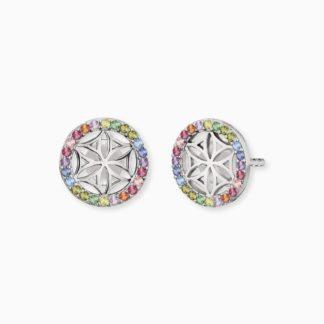 Ohrstecker Lebensblume Silber mit Zirkonia Multicolor