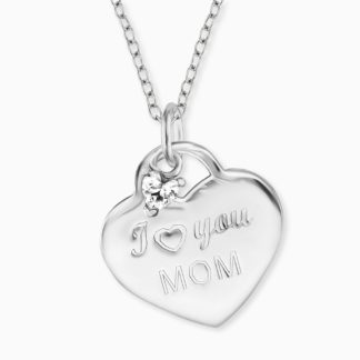 "Kette ""I love you Mom"" Silber mit Zirkonia"