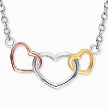 Kette 3 Herzen Silber Tricolor