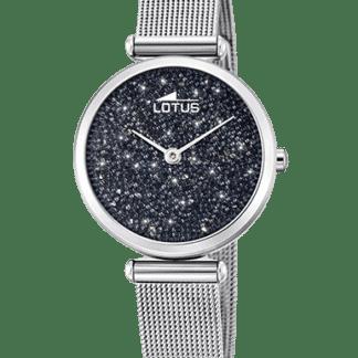 Lotus Damenuhr Swarovski Crystal schwarz