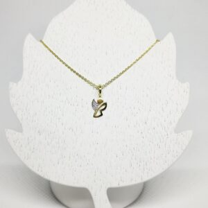 Goldkette mit Schutzengel Anhänger Taufkette modern Zirkonia