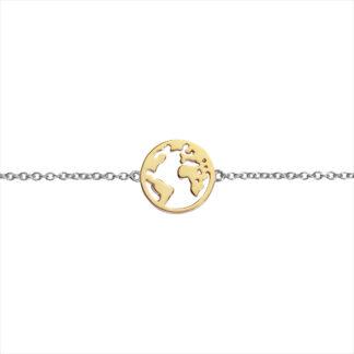 Auranto Silberarmband Welt vergoldet